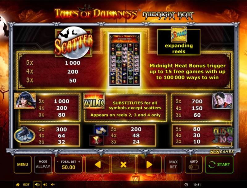 Temple of Darkness Midnight Heat :: Paytable