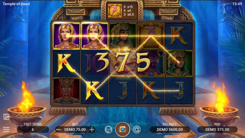 Temple of Dead :: Free Spins Game Board