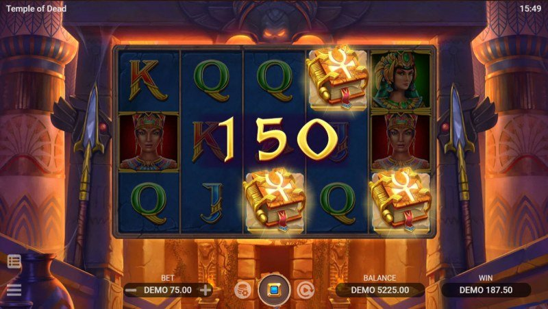 Temple of Dead :: Scatter symbols triggers the free spins bonus feature