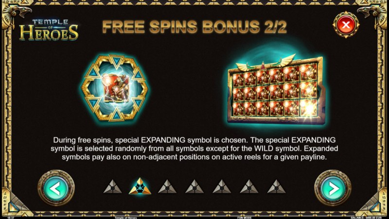 Temple of Heroes :: Free Spins Rules