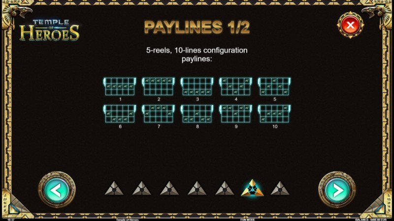 Temple of Heroes :: Paylines 1-10