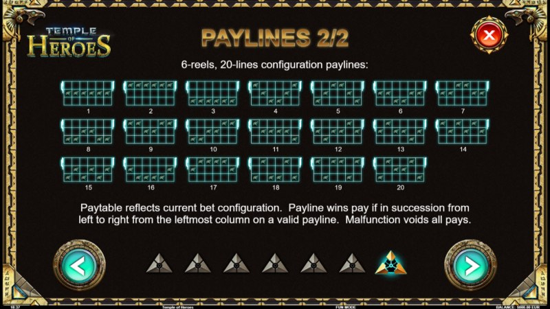 Temple of Heroes :: Paylines