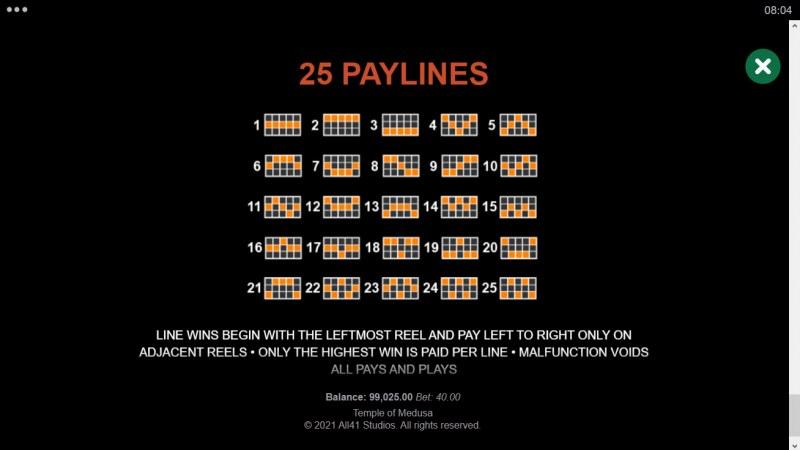Temple of Medusa :: Paylines 1-25