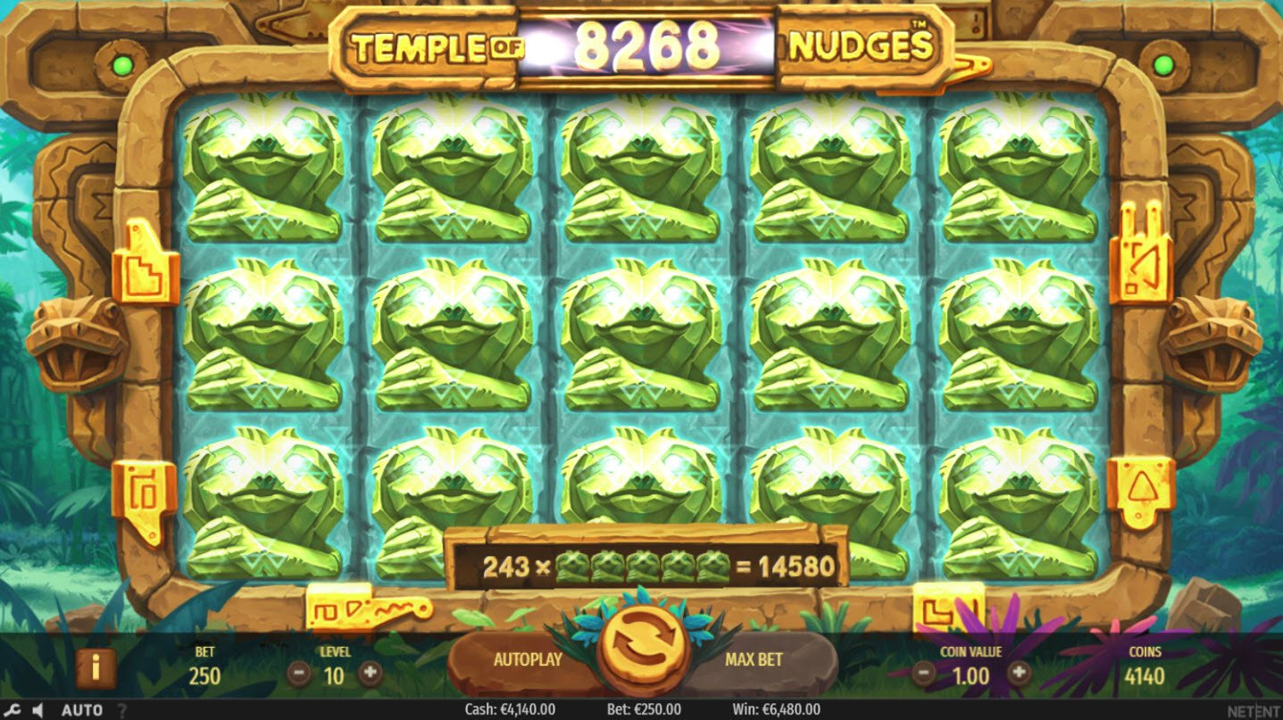 Play slots at Casino Extra: Casino Extra featuring the Video Slots Temple of Nudges with a maximum payout of $546,750