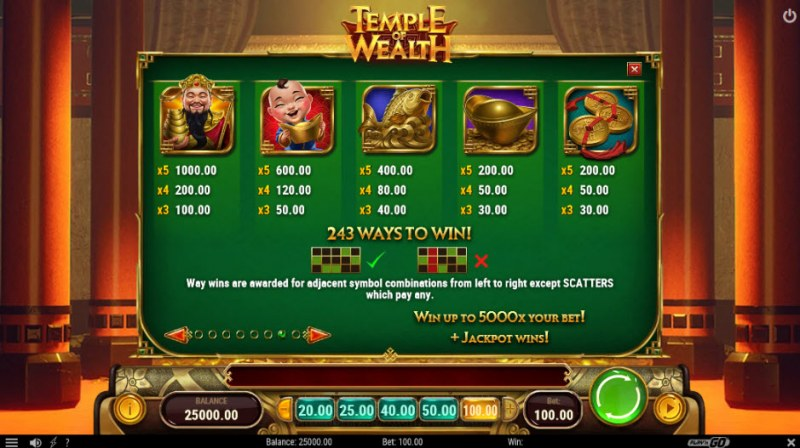 Temple of Wealth :: Paytable - High Value Symbols