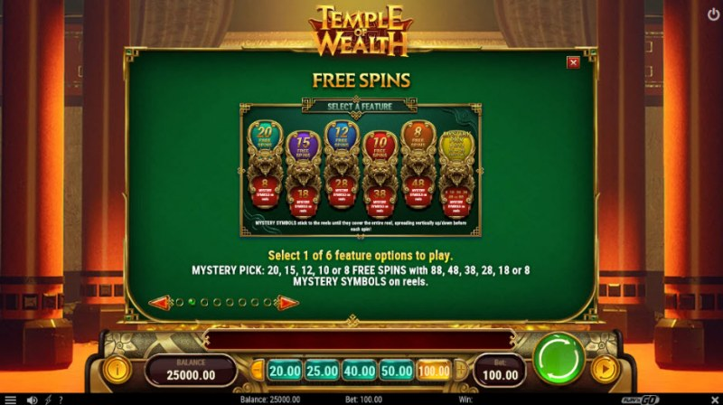 Temple of Wealth :: Free Spins Rules