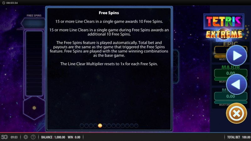 Tetris Extreme :: Free Spins Rules