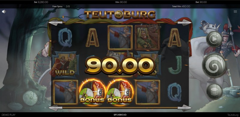 Teutoburg :: Free Spins Game Board