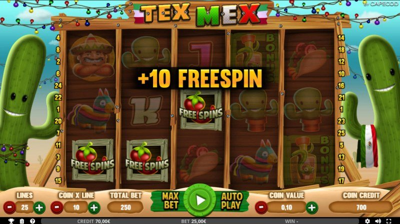 Tex Mex :: Scatter symbols triggers the free spins feature