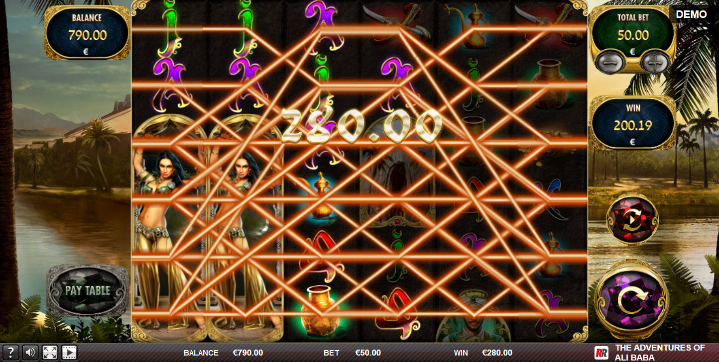 The adventures of Ali Baba :: Feature triggers multiple winning paylines