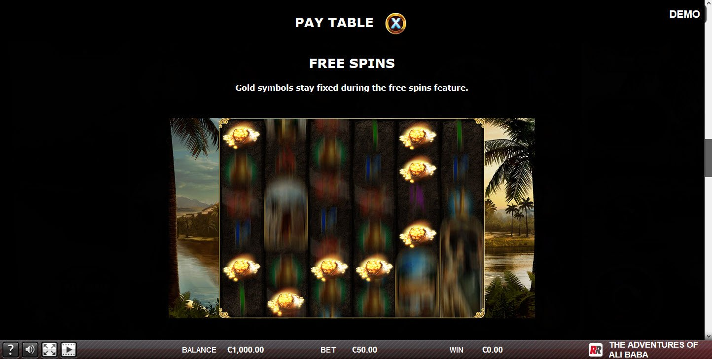 The adventures of Ali Baba :: Free Spins Rules