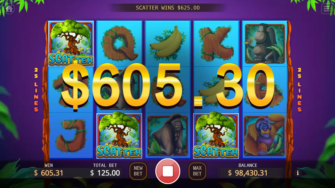 The Apes :: Scatter symbols triggers the free spins feature