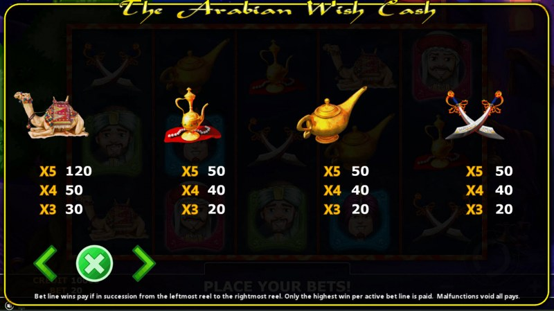 The Arabian Wish Cash :: Paytable - Low Value Symbols