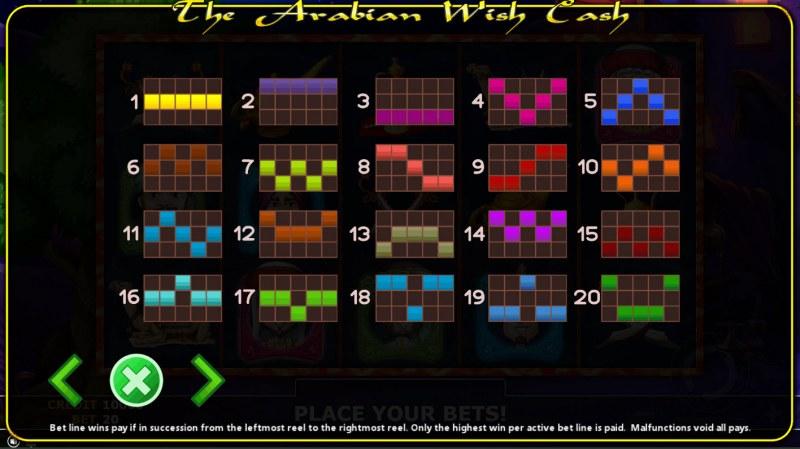 The Arabian Wish Cash :: Paylines 1-20