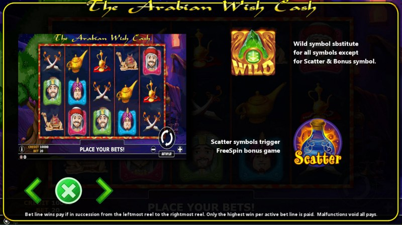 The Arabian Wish Cash :: Wild and Scatter Rules