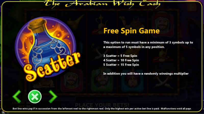 The Arabian Wish Cash :: Free Spins Rules