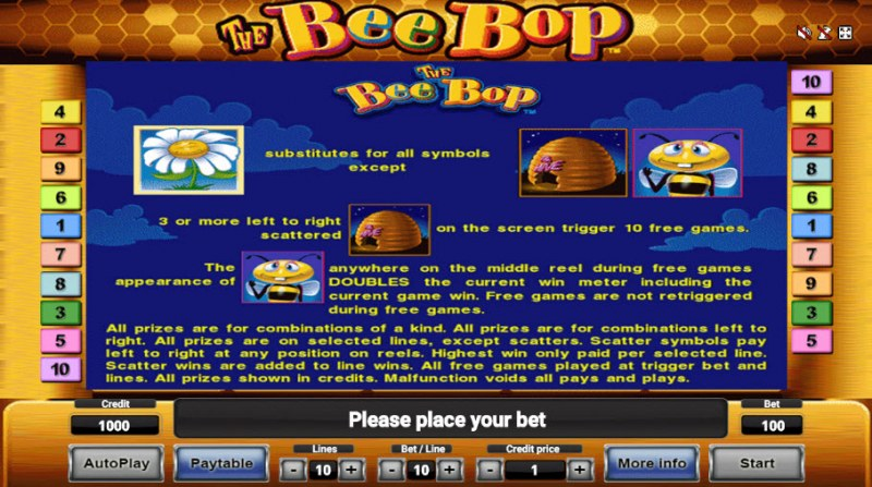 The Bee Bop :: Wild and Scatter Rules