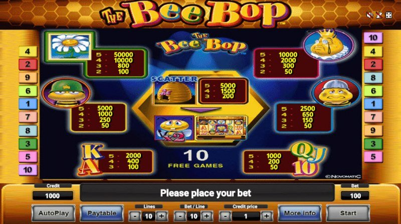 The Bee Bop :: Paytable