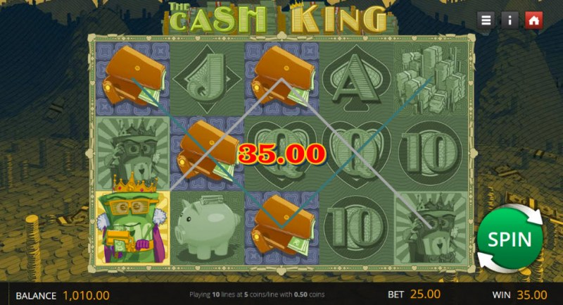 The Cash King :: A three of a kind win