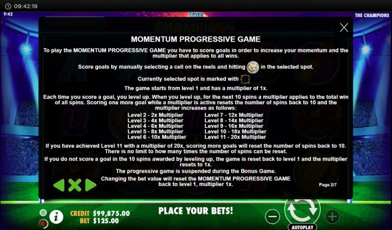 The Champions :: Momentum Progressive Game