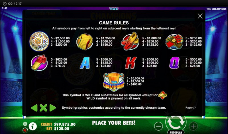 The Champions :: Paytable