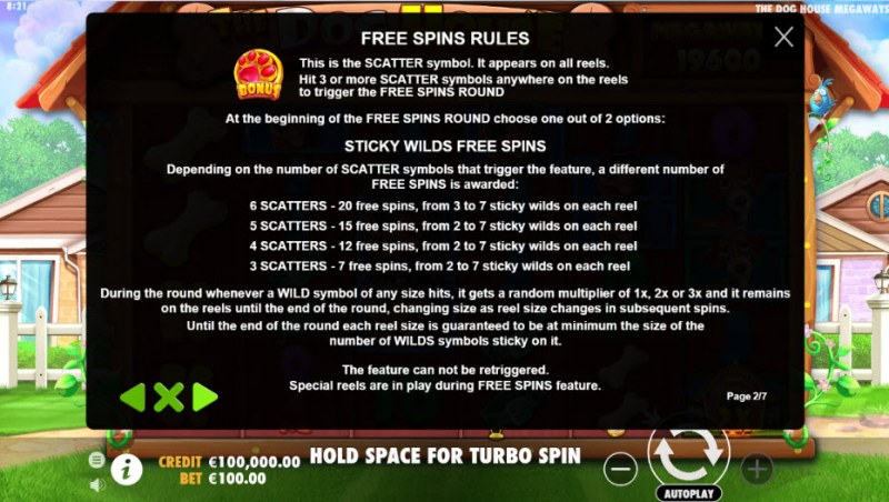 The Dog House Megaways :: Free Spins Rules