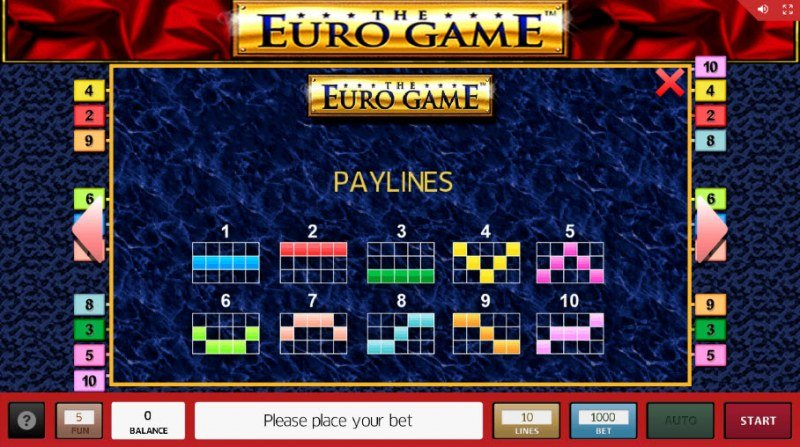The Euro Game :: Paylines 1-10