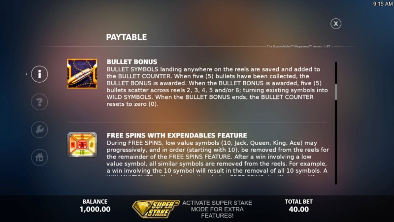 The Expendables Megaways :: Feature Rules
