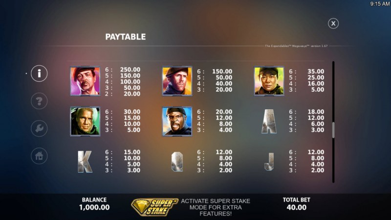 The Expendables Megaways :: Paytable - High Value Symbols