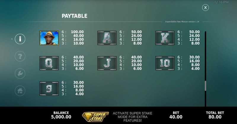 The Expendables New Mission Megaways :: Paytable - Low Value Symbols