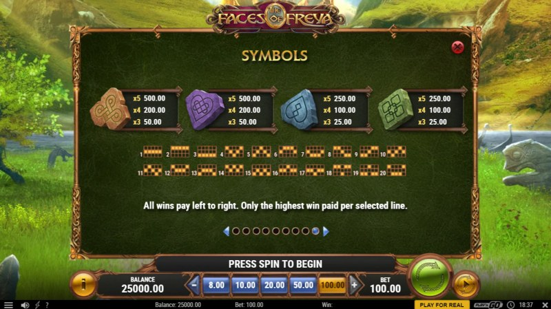 The Faces of Freya :: Paytable - Low Value Symbols