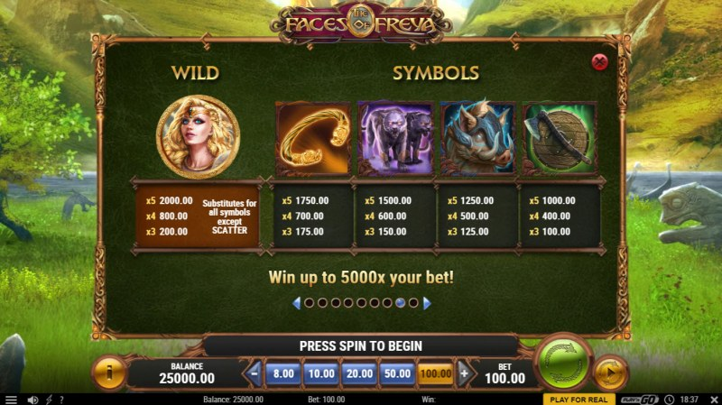 The Faces of Freya :: Paytable - High Value Symbols