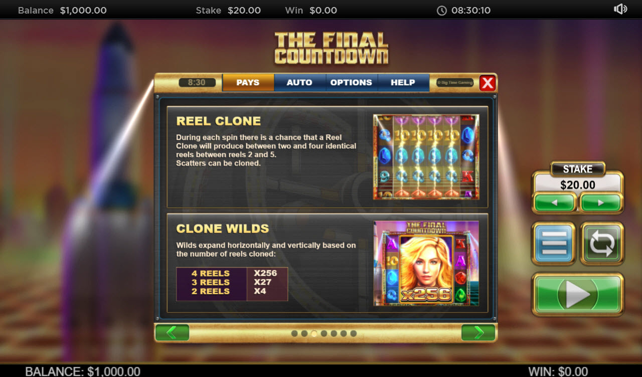 Play slots at Chanz: Chanz featuring the Video Slots The Final Countdown with a maximum payout of $250,000