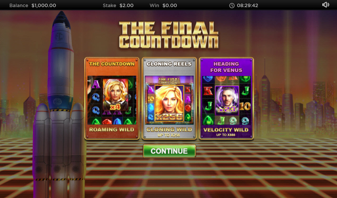 Play slots at Videoslots: Videoslots featuring the Video Slots The Final Countdown with a maximum payout of $250,000