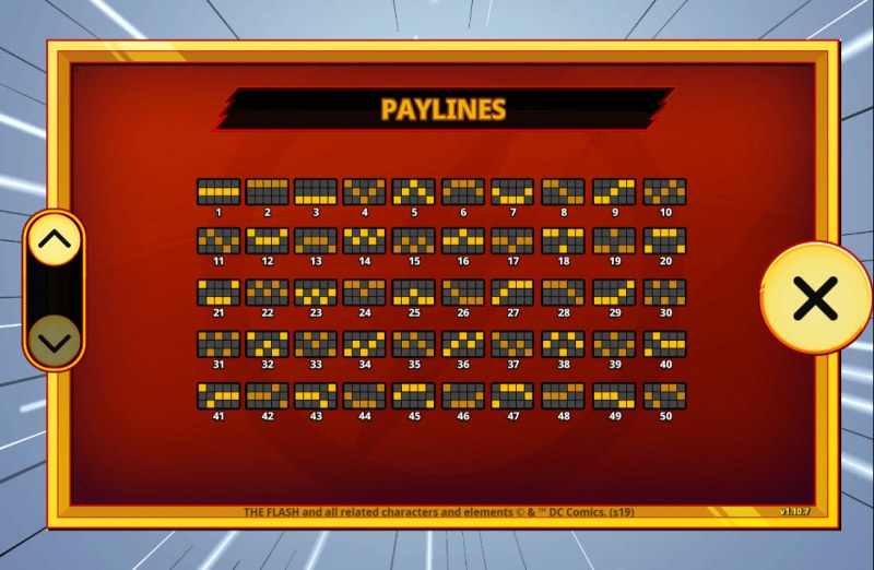 The Flash :: Paylines 1-50