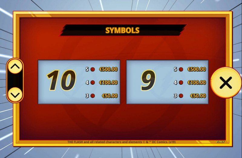 The Flash :: Paytable - Low Value Symbols