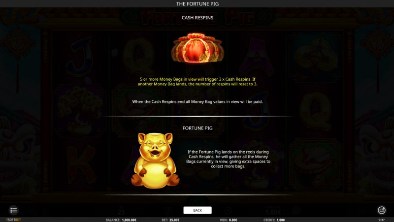 The Fortune Pig :: Respins and Wild Symbol Rules