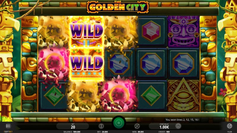 The Golden City :: Winning symbols are removed from the reels and new symbols drop in place