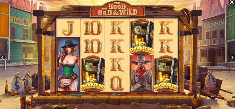 The Good The Bad and the Wild :: Three or more bonus scatters triggers the Bonus Wheel feature
