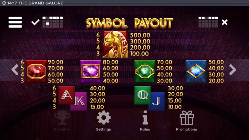 The Grand Galore :: Paytable