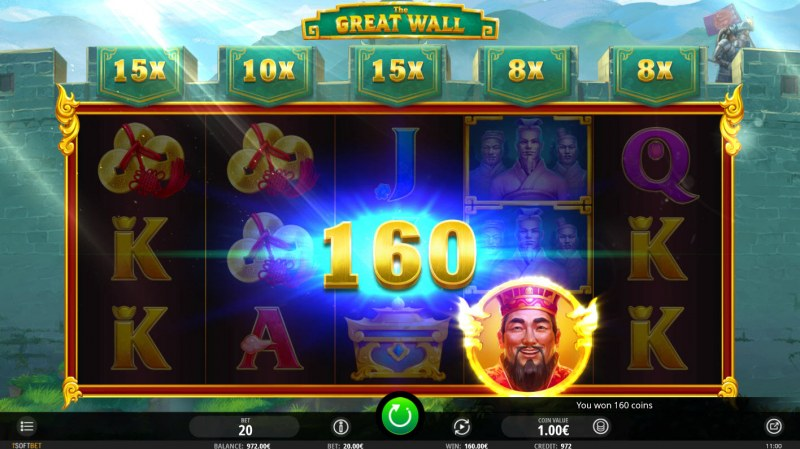 The Great Wall :: Emperor symbol appearing on any reel triggers payout at top of reel