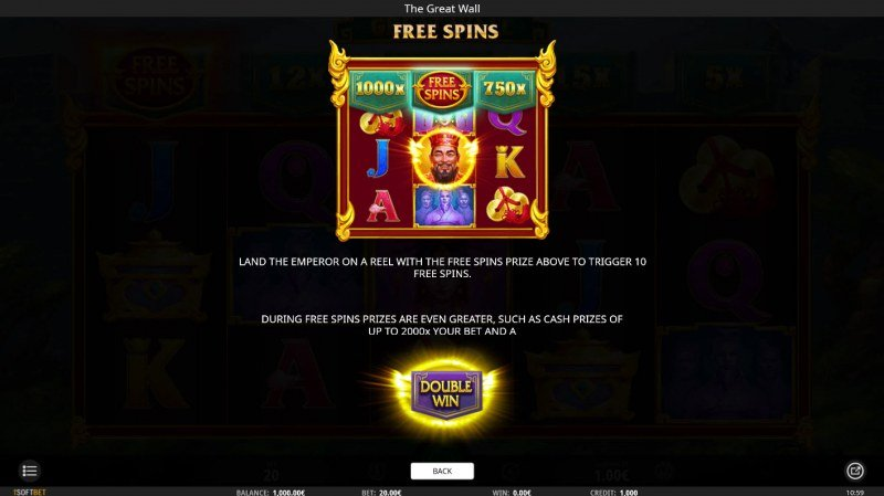 The Great Wall :: Free Spins Rules