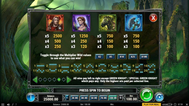 The Green Knight :: Paytable - High Value Symbols
