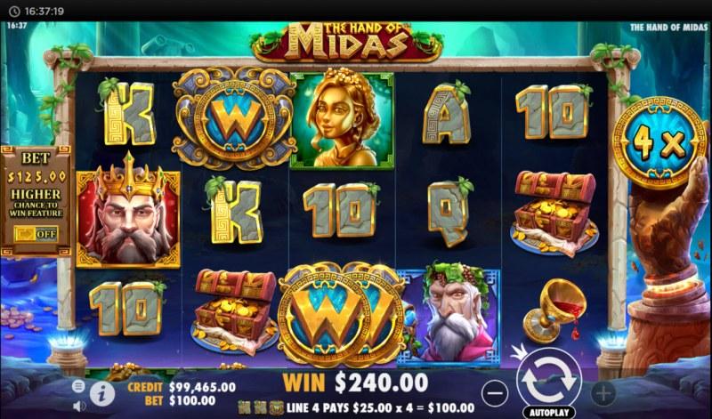 The Hand of Midas :: Multiple winning paylines