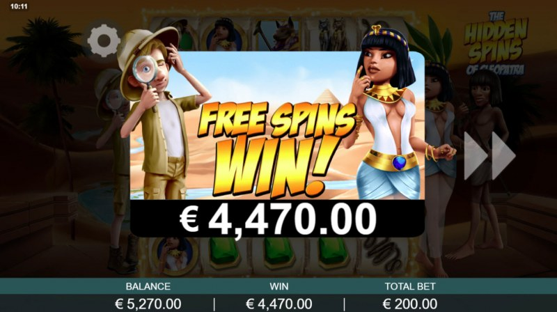 The Hidden Treasures of Cleopatra :: Total free spins payout