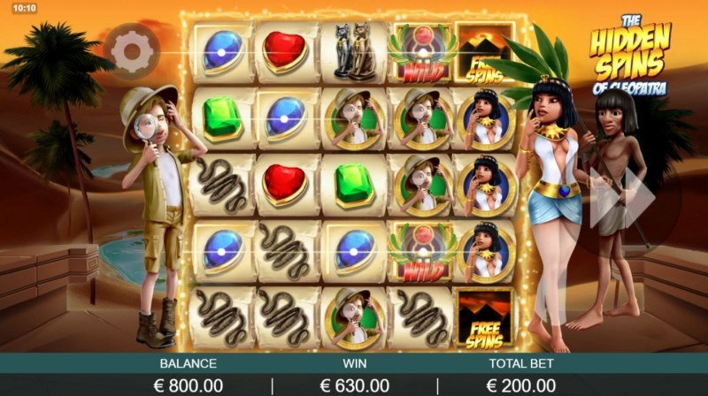 The Hidden Treasures of Cleopatra :: Free Spins Game Board