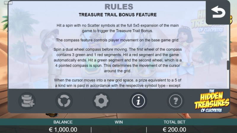 The Hidden Treasures of Cleopatra :: Treasure Trail Bonus feature