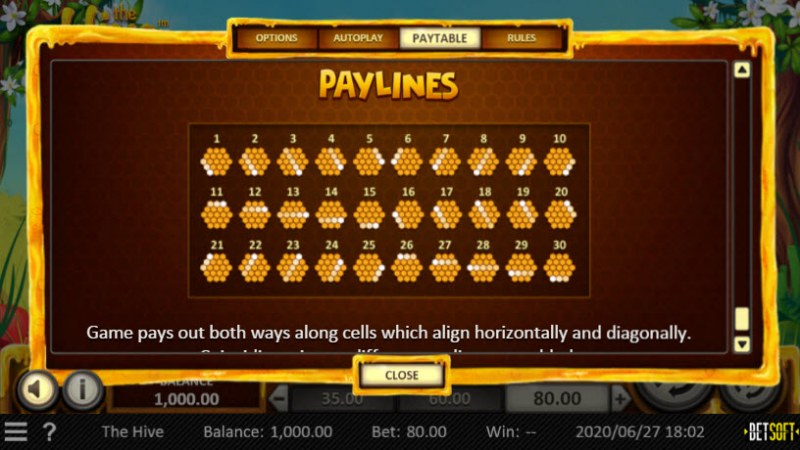 The Hive :: Paylines 1-30
