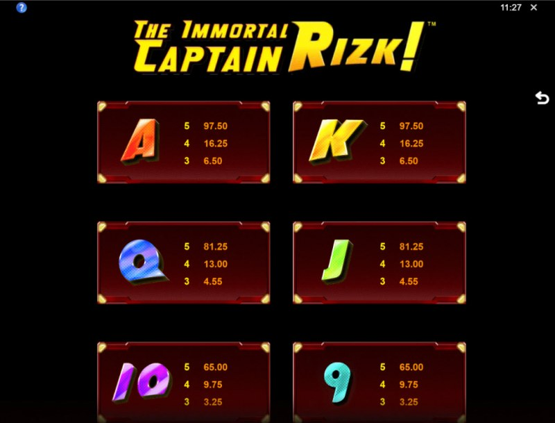 The Immortal Captain Rizk! :: Paytable - Low Value Symbols