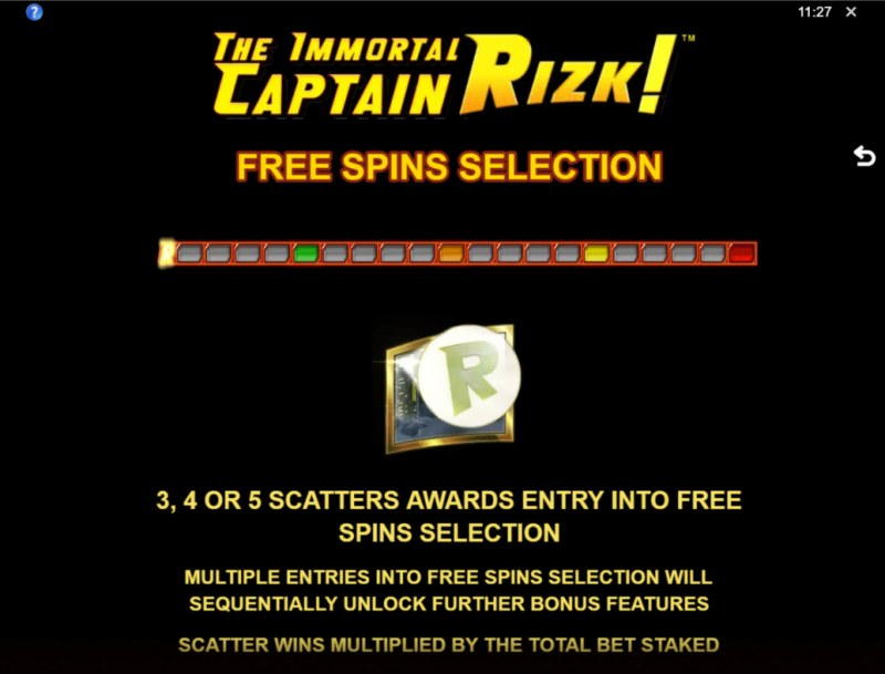 The Immortal Captain Rizk! :: Free Spin Feature Rules